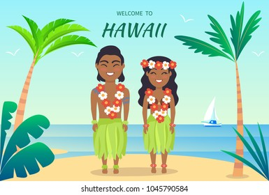 Welcome to hawaii poster, hawaiian people greeting tourists, man and woman dressed in leaves and luau made up of flowers on vector illustration