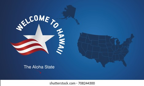 Welcome to Hawaii USA map banner logo icon