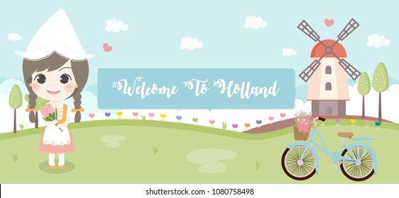 Welcome to Holland travel poster or postcard with Dutch girl and wind mill, The Netherlands, Vector illustration.