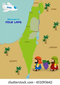 Welcome to Holy Land, map of Israel with cartoon characters of Two spies of Israel carrying grapes. Vector illustration