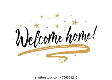 Welcome home card. Beautiful greeting banner poster calligraphy inscription black text word gold ribbon. Hand drawn design elements. Handwritten modern brush lettering white background isolated vector