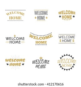 Welcome home collection. Set of labels, emblems, stickers or badges. Decorative elements for your design. Postcards. Vector illustration