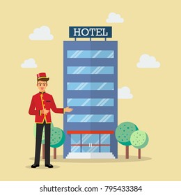 Welcome to hotel bellboy service. Vector Illustration
