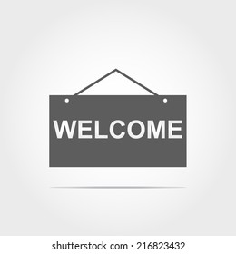 welcome icon on white background