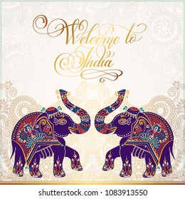 Welcome to India travel card poster with two indian elephants and golden hand lettering calligraphy text on gold floral background, vector illustration