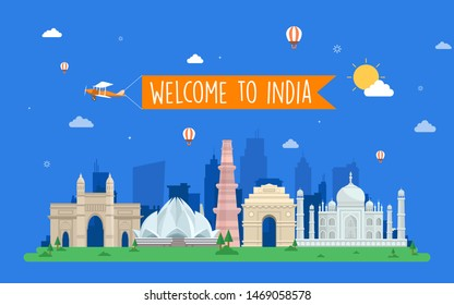 Welcome to India travel Concept, Template, Banner, Logo Design, Icon, Poster, Unit, Label, Web Header, website template design Mnemonic with famous Indian symbols and India Tourism City Skyline.