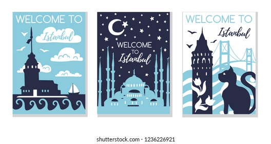 Welcome to Istanbul. Travel to Turkey concept. Set of three vector illustrations with silhouette symbols of Istanbul in modern flat style. Card, poster, flier, print design for travel promotion.