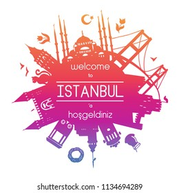 Welcome to Istanbul. Vector illustration of famous turkish attractions. Gradient silhouettes of landmarks in Turkey in circle composition isolated on white with round frame for your text or message.