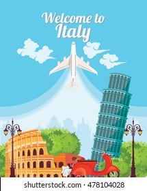 Welcome to Italy. Travel Italian landmarks. Italian vector icons. Vintage style. Travel Concept
