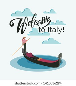 Welcome to Italy, to Venice. Venetian gondola and gondolier. Invitation to travel to Italy. Italian male profession. Design elements for tourist poster, textiles. Image on a white background.