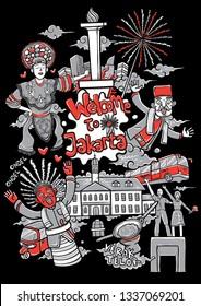 welcome to jakarta cartoon illustration