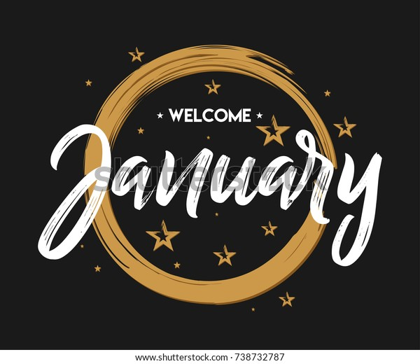 Welcome January Grunge Vector Greeting New Stock Vector