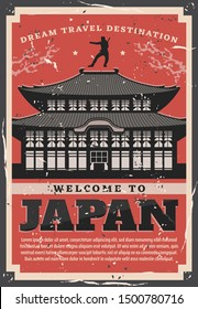 Welcome to Japan, ancient sacred pagoda building and ninja silhouette skilled in ninjutsu on roof. Vector Japanese traditional temple, retro card of pagoda with curved roofs, travel theme