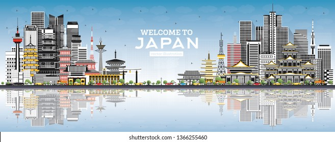 Welcome to Japan Skyline with Gray Buildings and Blue Sky. Vector Illustration. Tourism Concept with Historic Architecture. Cityscape with Landmarks. Tokyo. Osaka. Nagoya. Kyoto. Nagano. Kawasaki.