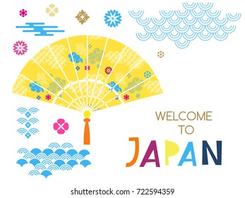 Welcome to Japan.Japan travel poster design in flat.Vector.