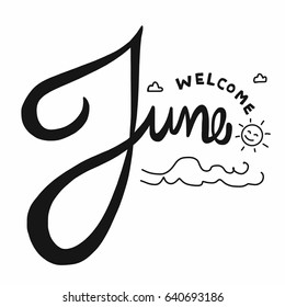 Welcome June word lettering vector illustration