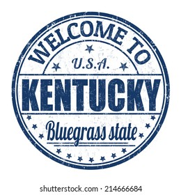 Welcome to Kentucky grunge rubber stamp on white background, vector illustration