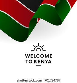 Welcome to Kenya. Kenya flag. Patriotic design. Vector illustration.