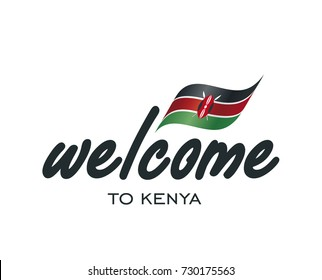 Welcome to Kenya flag sign logo icon