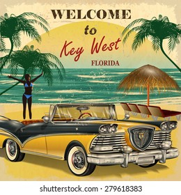 Welcome to Key West,Florida retro poster.