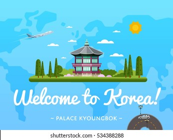 Welcome to Korea poster with famous attraction vector illustration. Korea travel design with ancient emperor Kyoungbok palace at Seoul. Famous architectural landmarks and worldwide air traveling ad