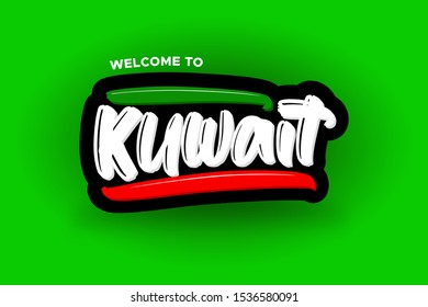 Welcome to Kuwait modern brush lettering text. Vector illustration logo for business, print and advertising