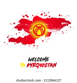 Welcome to Kyrgyzstan. Asia. Flag and map of the country of Kyrgyzstan from brush strokes. Lettering. Vector illustration on white background.