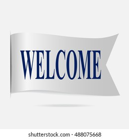 Welcome label, silver ribbon badge