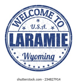 Welcome to Laramie grunge rubber stamp on white background, vector illustration