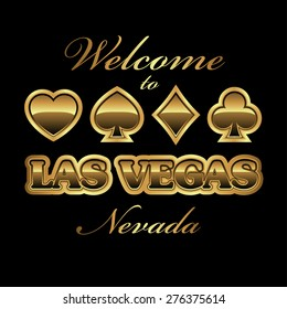 Welcome to Las Vegas Nevada gambling invitation design in gold, vector