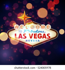 Welcome to Las Vegas Sign with Bokeh Background. Vector