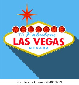 Welcome to Las Vegas Sign Flat Design Vector