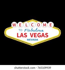 Welcome to Las Vegas sign icon. Classic retro symbol. Nevada sight showplace. Flat design. Black background. Isolated. Vector illustration
