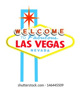 Welcome to Las Vegas Sign on White