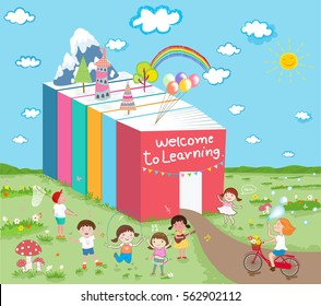 welcome to learning kids have fun ' vector concept illustration
