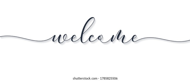 Welcome Lettering Black Text Handwriting Calligraphy with Shadow isolated on White Background. Greeting Card Vector Illustration Design Template Element