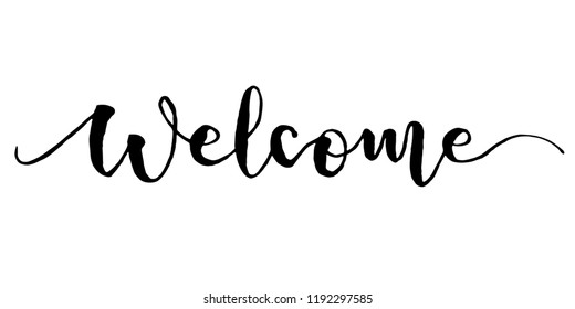 Welcome lettering. Handwritten modern calligraphy, brush painted letters. Vector illustration.