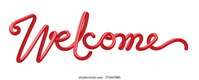 welcome lettering text. Modern calligraphy red color style vector illustration.