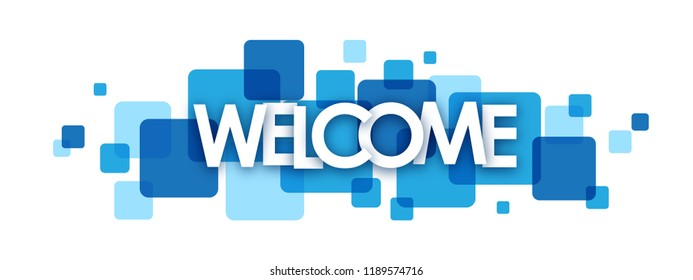 WELCOME letters banner on blue squares