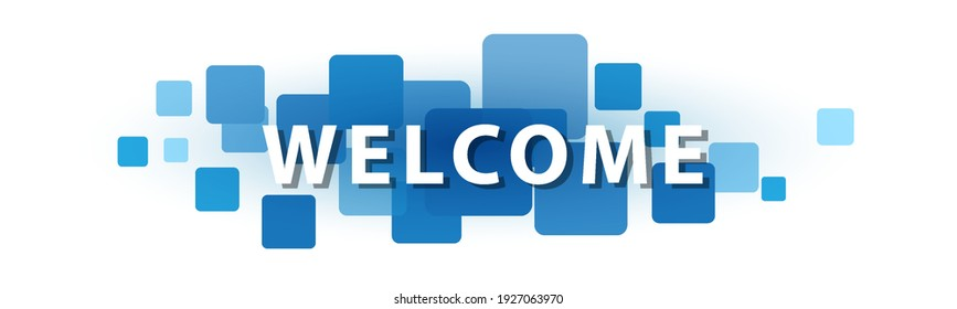 WELCOME letters banner on blue squares. Stock vector banner