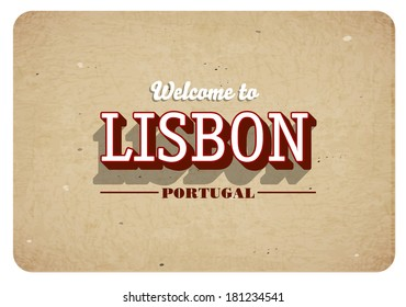 Welcome to Lisbon - Vintage greeting card
