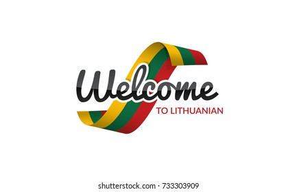 Welcome to Lithuanian flag sign logo icon