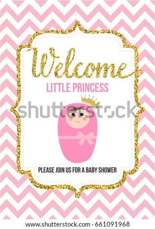 Welcome Little Princess Baby Shower Invitation Stock Vector Royalty