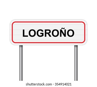 Welcome to Logrono Spain road sign vector