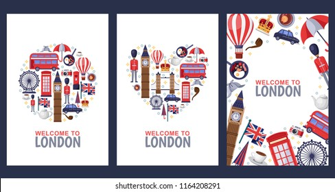 Welcome to London greeting souvenir cards, print or poster design template. Travel to Great Britain flat illustration. Circle, heart shapes and frame background set.