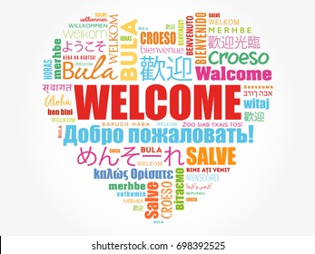 WELCOME love heart word cloud in different languages, conceptual background