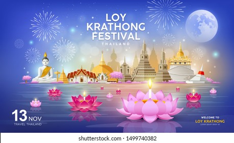 Welcome to Loy Krathong festival in building and landmark thailand banners on blue background, vector illustration