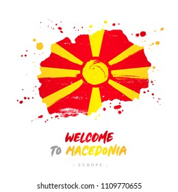 Welcome to Macedonia. Europe. Flag and map of the country of Macedonia from brush strokes. Lettering. Vector illustration on white background.