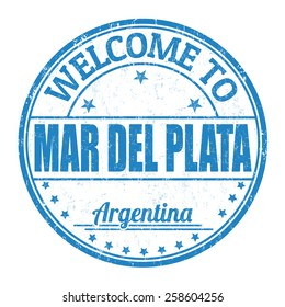 Welcome to Mar del Plata grunge rubber stamp on white background, vector illustration