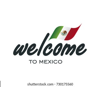 Welcome to Mexico flag sign logo icon